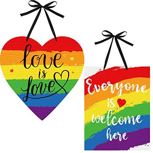 2 Letrero Colgante de Madera Arcoíris de Everyone is Welcome Here Love is Love Decoración de Ventana Puerta Pared de Impresión a Doble Cara Decoración de Fiesta Temática de Orgullo