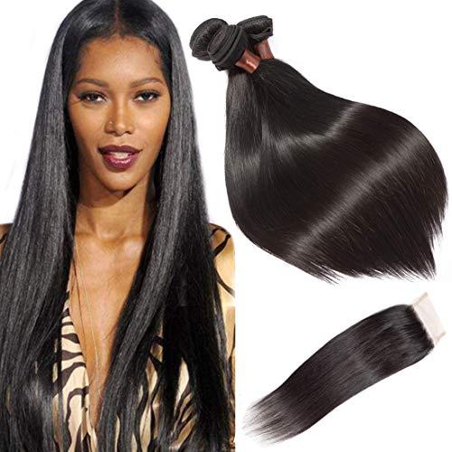 BLACKMOON HAIR Brazilian Virgin Straight Hair 3 Bundles With Free Part Lace...