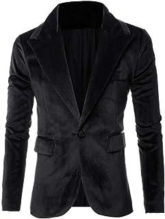 Men's Royal Blue Velvet Blazer Notch Lapel One Button Suit Jacket Slim Fit Casual Daily Coat
