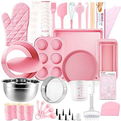 Morfakit Complete Cake Baking Set Bakery Tools for Beginner Adults Baking sheets bakeware sets baking tools Best Gift Idea for Boys and Girls, Pink