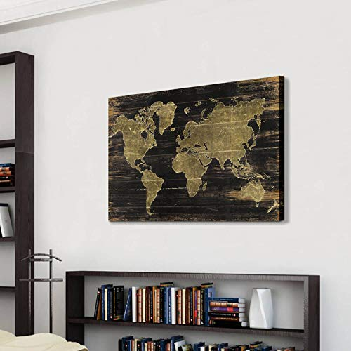World Map Canvas Wall Art: Map with Wooden Texture Background Artwork Painting Print for Office (45'' x 30'' x 1 Panel)