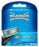 Wilkinson Sword - Ricariche Quattro Plus - Ricariche Rasoio per Uomo - Lamette a 4 Lame - Confezione da 8 Lame di Ricambio