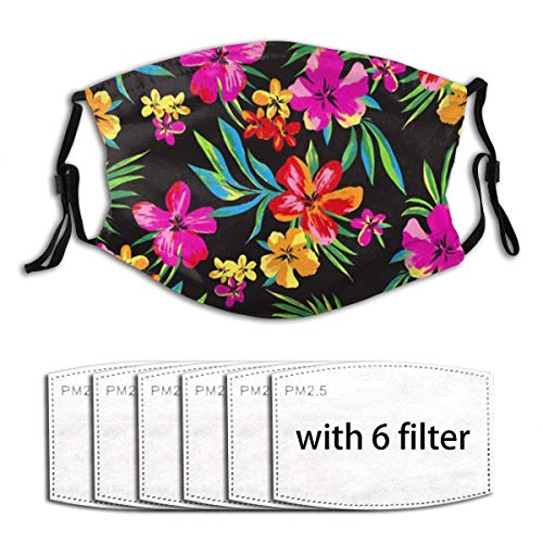 Hawaiian Colorful Flower Face Mask with Filter Pocket Washable Reusable Face Bandanas Balaclava with 6 Pcs Filters