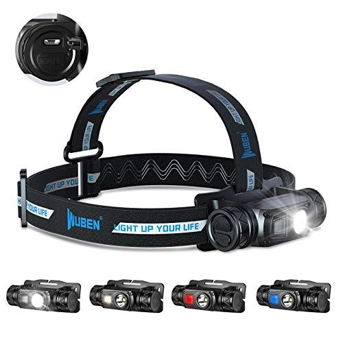 WUBEN H1 Stirnlampe 1200 Lumen LED Stirnlampe Mehrere Lichtquellen Kopflampe, USB Wiederaufladbare IP68 Wasserdicht Reflexstreifen Leichtgewichts Stirnleuchte für Camping, Fischen, Laufen, Wandern