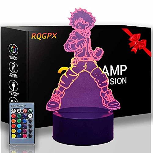 Luz nocturna 3D Midoriya Izuku My Hero Academia 16 colores cambiantes interruptor táctil decoración escritorio lámparas cumpleaños regalo con control remoto