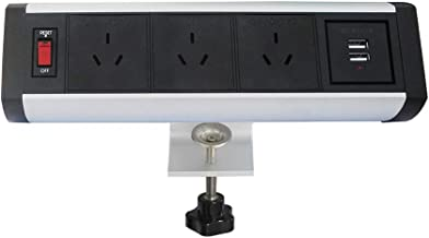 Removable Desktop Socket Outlet ZESHAN TB-B-2 with 3 AUS Power and 2 USB Chargers for Office(Silver)