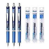 Pentel Energel Deluxe RTX Retractable Liquid Gel Pen - 0.5mm - Fine Line/ Needle Tip / Blue Ink - Blue Body Type - 3Pens...
