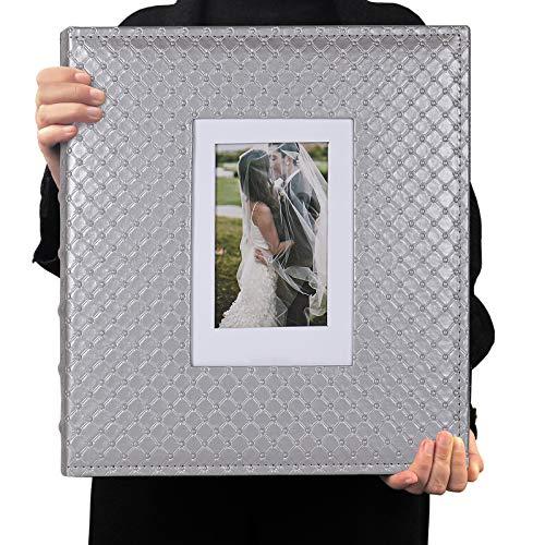 RECUTMS Álbum de Fotos 10x15 600 Fotos Cuero PU Capacidad Álbum de imágenes Cumpleaños Álbumes de Fotos de Navidad Aniversario de Bodas (Gris)