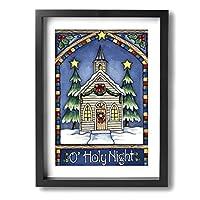 Holy Night Winter Snow Christmas Church モダンフレーム装飾画 壁飾り Framed Painting 壁の絵 壁掛け 部屋飾り 背景絵画 壁アート 木枠付きの完成品 装飾 軽くて取り付けやすい 玄関 リビングと寝室の飾りに最高30x40cm