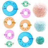 Mokinga Fabricante de Pompones, 8 piezas de Diferentes Tamaños Para Hacer Pompones De Bricolaje Para Tejer Bolas De Pelusa, Agujas Para Manualidades(Diámetro: 3,5 cm, 5,5 cm, 7 cm, 9 cm)
