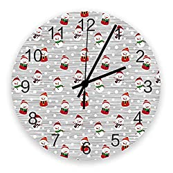 Roses Garden 12-Inch Indoor Silent Non-Ticking Wall Clock Xmas Jolly Cute Snowman Snowflake Design Battery Operated Home Decor Wall Clock for Living Room/Kitchen/Office