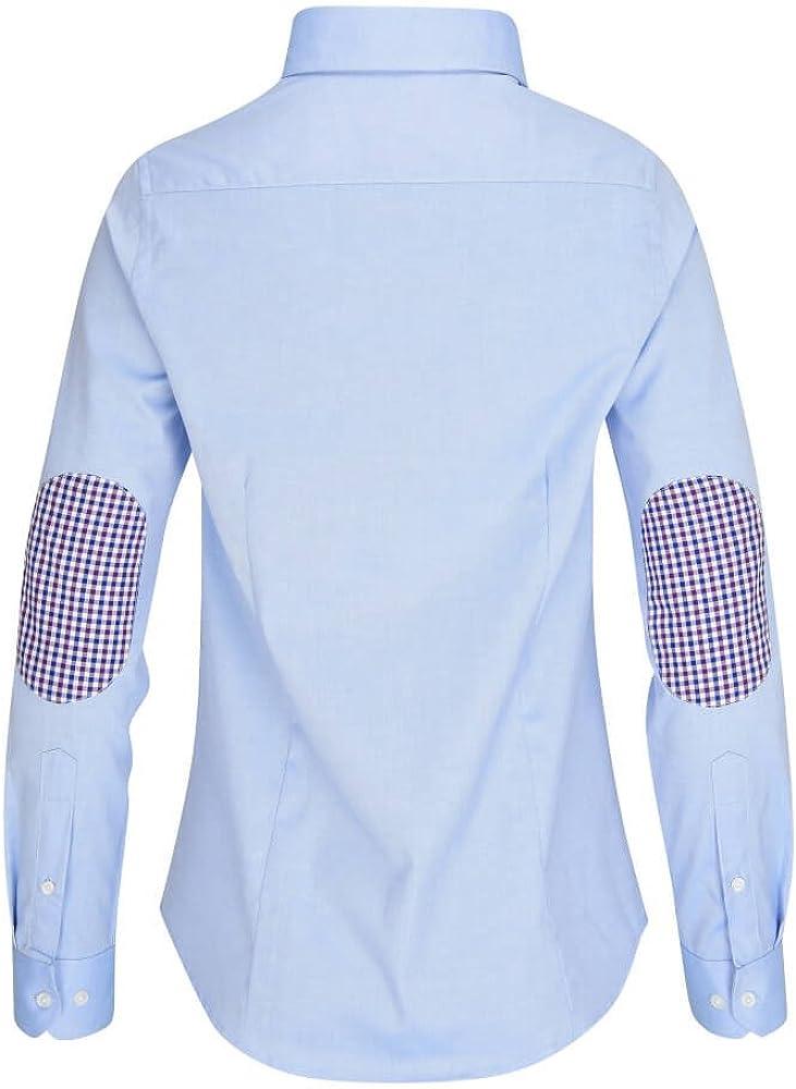 ALLBOW, Neat Blusa Azul con parches en el codo, elegante blusa para mujer con parches