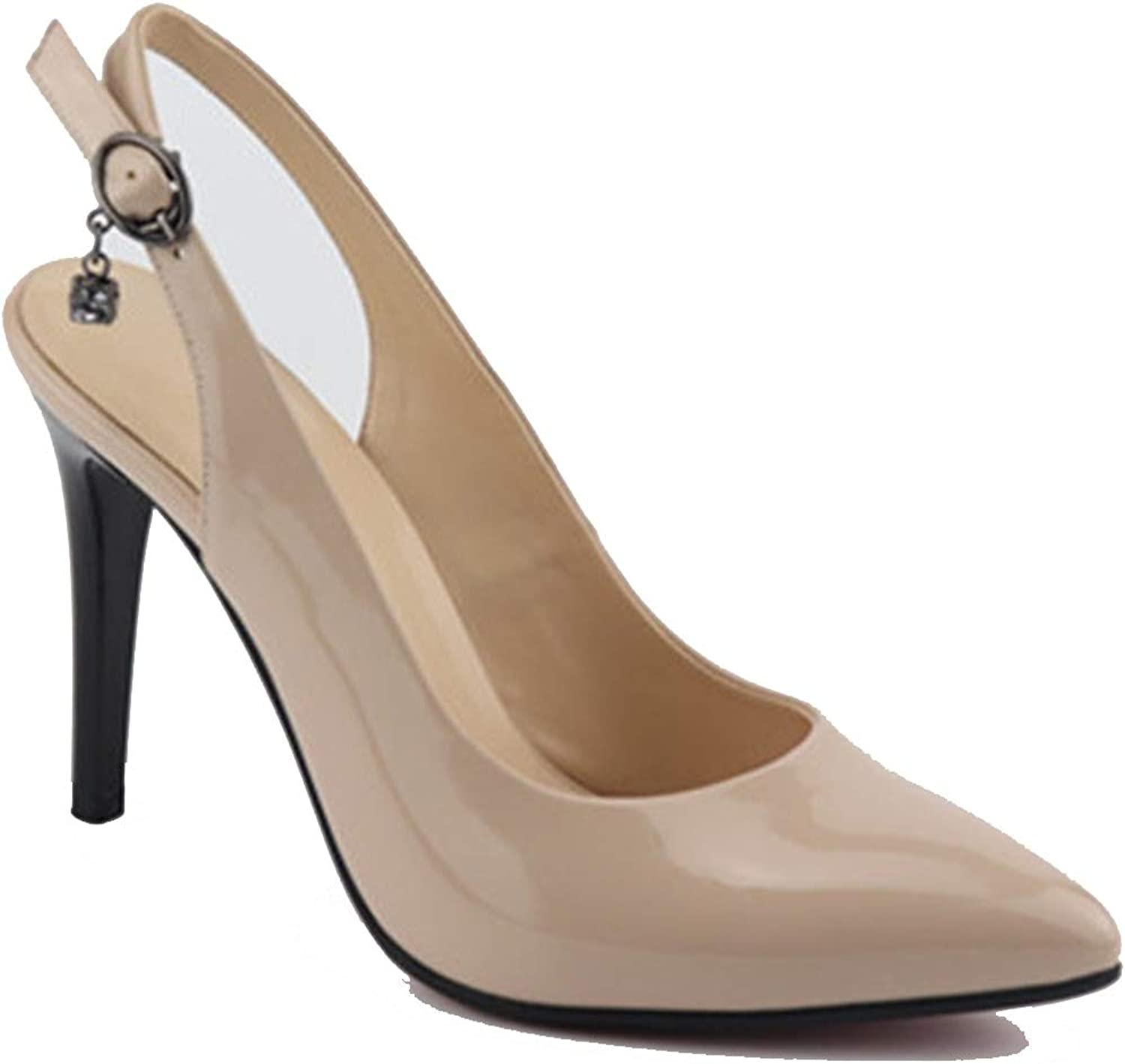 Women Pumps Pointed Toe Summer Slingback shoes Buckle Sexy Super high Heels shoes Woman,Apricot,11