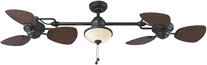 Harbor Breeze Twin breeze 74-in Oil rubbed bronze Indoor/Outdoor Downrod Mount Ceiling Fan with Light Kit (6-Blade)