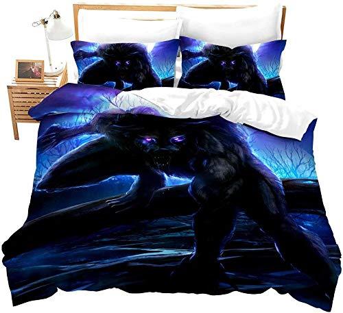dsgsd Microfibra de decoración de Dormitorio Noche Azul árboles Animales Lobo Paisaje 260x240cm Juego de Ropa de Cama con Funda nórdica 3D Juego de Cama con edredón de Cama King con impresión Digital
