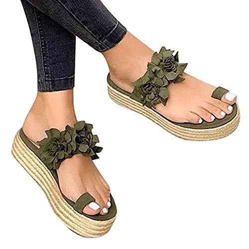 AARDIMI Damen Sandaletten Pantoletten mit Plateau Flat Heel Round Toe Sandalen Frauen Peep Toe Casual Flip Flop Schuhe 35-43 (Grün, Numeric_39)