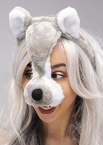 Masque Loup Gris sur serre-tête avec oreilles