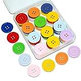 SUNTATOP 80 Piezas Botones de Resina de Botones Redondos de Agujero Manualidades DIY de Coser 25 mm de diámetro (8 colores)