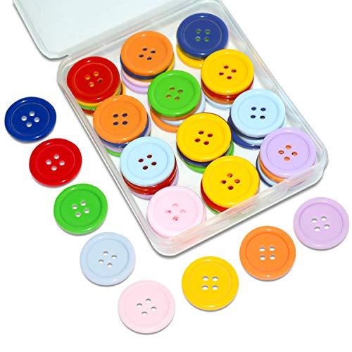 SUNTATOP 80 Stück Knöpfe Harz Knopf Set Basis Knopf für DIY Nähen,Scrapbooking und Handwerk Verzierung, 25mm (Mehrfarbig)