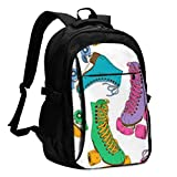 asfg Resistente a Las Manchas Roller Skates Multifunctional Personalized Customized USB Backpack, Student School Outdoor Backpack,Travel Bag Laptop Bookbags Business Daypack.