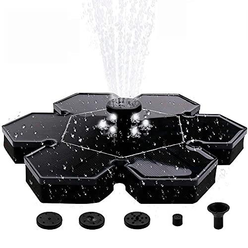Solar Fountain Pump with LED Lights, Free Standing Solar birdbath Fountain Pump for Pond, Aquarium, Garden, Patio and Pool