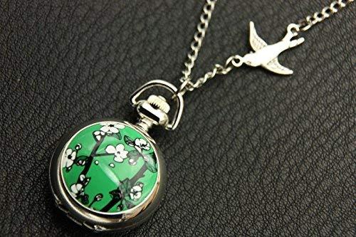Tableau cerisier, fond vert, montre de poche Cerisier, collier cerisier, chaîne de montre, bijoux en argent vintage, bijoux d'art, pendentif tendance.