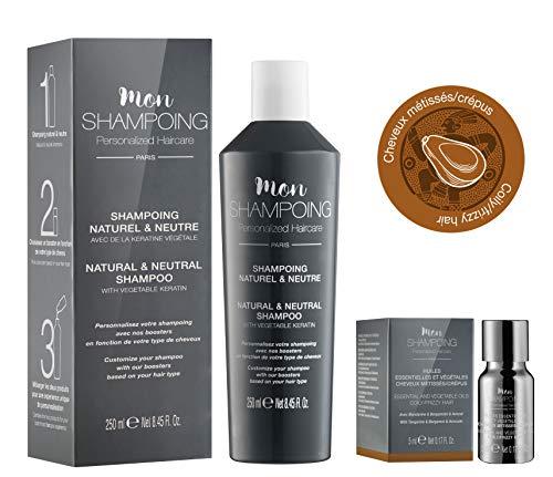 Mon Shampoing - Duo Shampoing Naturel - Cheveux Métissés/Crépus - Sans SLS/Paraben/Silicone - Huiles Essentielles & Vég. Mandarine - Bergamote - Avocat - convient pour Lissage/Extension. 250ml + 5ml