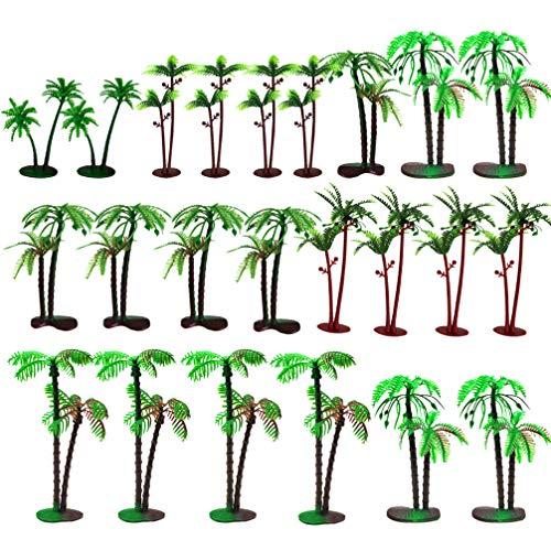 VALICLUD 72pcs Palm Model Trees Scenery Model Plastic Artificial Rainforest Diorama Tree Cake Topper for Model Train Railways Architecture Mini Landscape Decoration Green