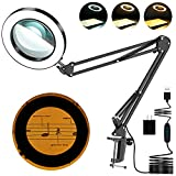 Magnifying Glass with Light, 8-Diopter Glass Lens 5X Magnifying Lamp, Lighted...