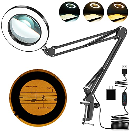 Magnifying Glass with Light, 8-Diopter Glass Lens 5X Magnifying Lamp, Lighted Magnifying Glass for Reading Magnifier with Light 3 Color Modes Stepless Dimmable Adjustable Swivel Arm Crafts Workbench