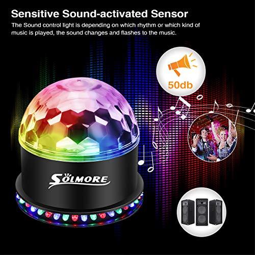 LED Discokugel,SOLMORE 51LEDs 12W Discolampe Partyleuchte RGB Lichteffekt Bühnenbeleuchtung Party Licht Weihnachten Deko - 3
