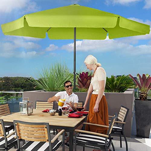 Nova Ombrellone da Giardino Diametro Ø 3 m con Bordo e Manovella in Poliestere Protezione UV 30+ Colore a Scelta (Verde Lime)