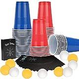 Ulikey Tazas de Fiesta, Beer Pong Kit, 100 16oz Beer Pong Tazas de Americanas + 10 Bolas + 54 Cartas, Vasos para Beer, Juegos de Bebida para Bebidas, Fiesta Celebración, Juego para Beber