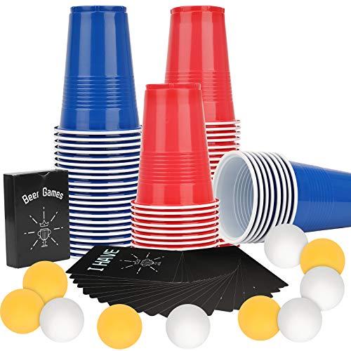 Ulikey Trinkbecher Beer Pong Becher Partybecher Kartenspiel Set mit Kartenspiele, 50 Beer Cups Rot + 50 Beer Cups Blau + 10 Bällen, Partybecher Trinkspiel für Party Oktoberfest Weihnachten Hochzeit