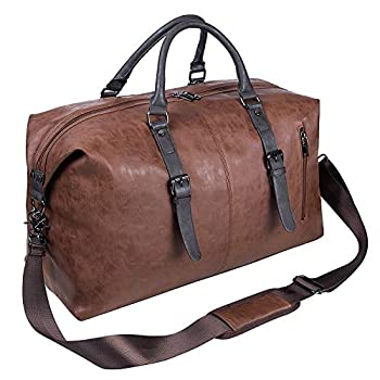Oversized Leather Travel Duffel Bag Weekender Overnight Bag Waterproof Leather Large Carry On Bag Travel Tote Duffel Bag for Men or Women-Brown