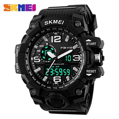 SKMEI Analog-Digital Black Dial Men's Watch - AD1155 (Black)