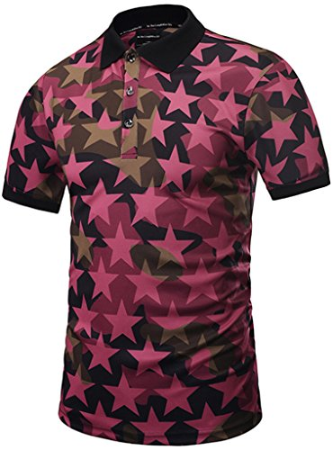 Pizoff Mens Boys Hipster Short Sleeve All Over 3D Camouflage Stars Print Button Down Breathable Slim Fit Polo-Shirt Y1790-06-S