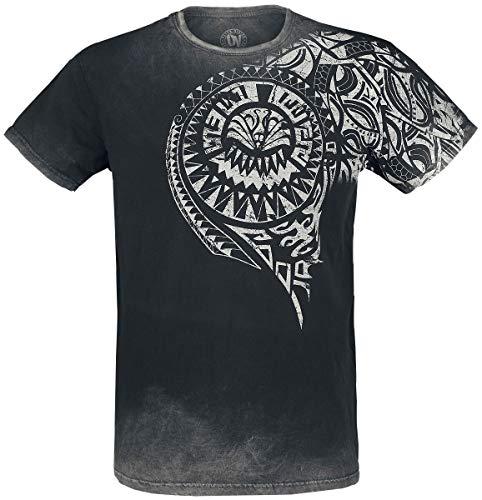 Outer Vision Burned Tattoo Uomo T-Shirt Grigio L 100% Cotone Regular