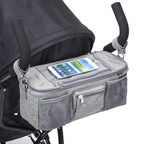 BTR Pram Buggy Organiser Bag & Pram Organiser Bag with Mobile Phone Pocket Holder & Zipped Lid. Plus 2 Pram Hooks. Grey Pushchair Organiser
