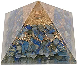 Aatm Lapis Lazuli Orgone Pyramid for EMF Protection Chakra Healing Meditation with Crystal and Copper (3 and 3 Inches)