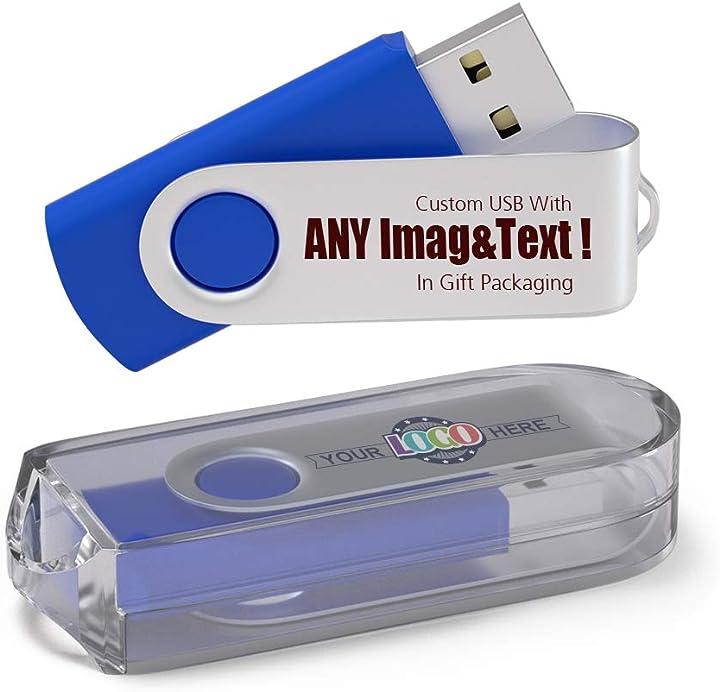 500 pezzi pen drive personalizzata 1gb chiavetta usb con il tuo logo usb 2.0 - blu B07PDGL9SD