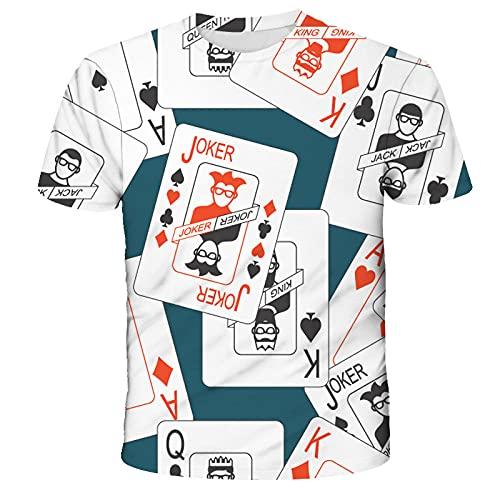 Camiseta 3D Casual Unisex Camiseta Estampada De Manga Corta con Cuello Redondo Grfico Realista Tops Camisetas Estampadas con Cuello Redondo Y Estampado Creativo Impresin De Naipes-F_M