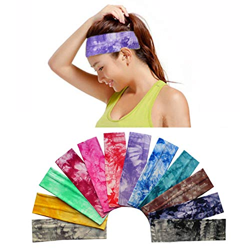 12 Pack Cotton Headbands by Teemico - Tie Dye Headbands Cotton Stretch Headbands Elastic Yoga Hairband for Teens Girls Women Exercise Running Sports Hair Wrap Accessories