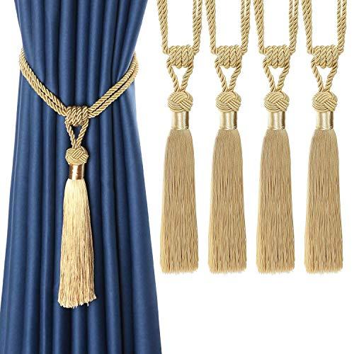 BEL AVENIR Vorhang-Raffhalter, handgewebt, Seilbindung, Heimdekoration, Quasten, Raffhalter (Gold, 4)
