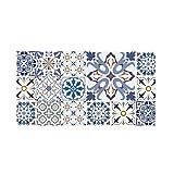 Decowood - Cabecero Estampado para Cama de Dormitorio, Hidráulico Azul, Madera Decapada - 160 x 80 cm