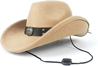 2019 Womens Hats Caps Womens Unisex 100% Wool Western Cowboy Hat for Women with Punk Belt Wool Sombrero Hat Adult Church Hat Roll Up Hat Adjustable Fashion Foldable (Color : Khaki, Size : 56-58)