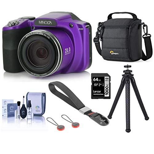 Minolta M35Z 20MP 1080p HD Bridge Digital Camera with 35x Optical Zoom, Purple - Bundle with 64GB SDXC Card, Camera Case, Peak Camera Cuff Wrist Strap, FotoPro UFO 2 Flexible Tripod, Cleaning Kit