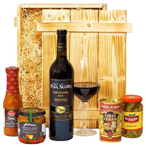 Geschenkset Madrid | Spanischer Geschenkkorb mit Wein & Tapas Spezialitäten | Feinkost Präsentkorb gefüllt mit Delikatessen aus Spanien für Frauen & Männer