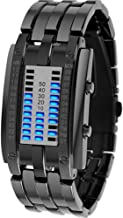 SCCL Coolest Couple Girl Woman Man Boy Student LED Binary Electronic Watch Outdoor Sports Waterproof 3ATM Gift Box Luminous Date Handsome life (Color : Black, Size : S)