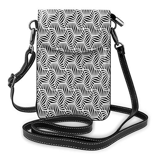 Women Small Cell Phone Purse Crossbody,Modern Geometry Pattern With Hexagon Lines Monochrome Grid Design